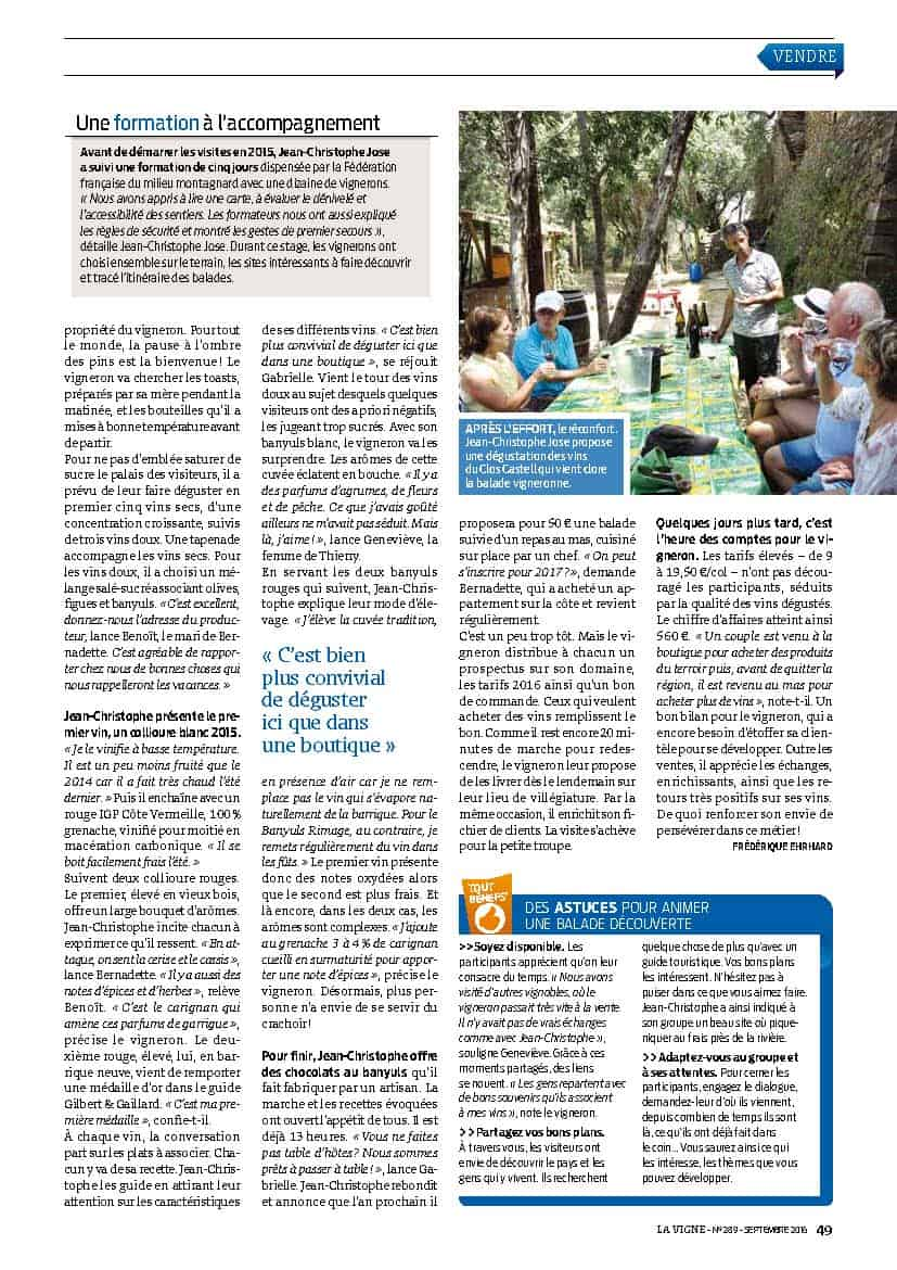 Article La Vigne - Septembre 2016