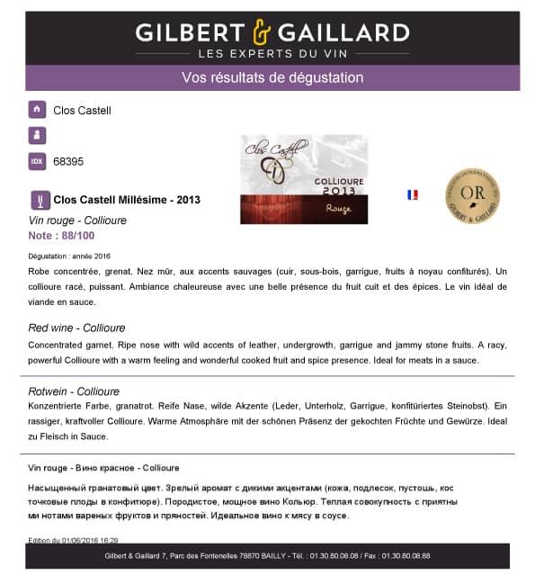 Rapport dégustation Collioure 2013