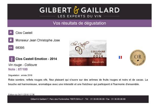 Rapport dégustation Collioure 2014
