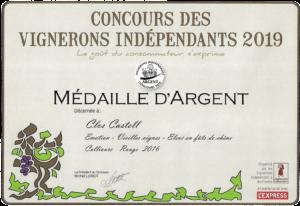 Médaille d'argent - Concours vignerons indépendants 2019