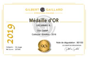 Médaille d'or - Gilbert Gaillard 2019