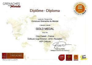 Médaille d'or - concours international Grenaches du Monde